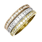 925 Sterling Silver White Synthetic Cubic Zirconia 3 Stackable Ring