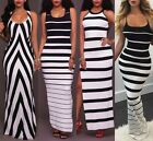 Womens Casual Striped Camisole Tank Top Sleeveless Bodycon Party Long Maxi Dress