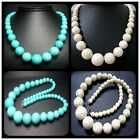 """8-18mm 8-20mm Blue and White Turquoise Gems Round Tower Bead Necklace 20"""""""