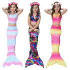 New Kids Girls 3Pcs Mermaid Tail Swimming Bikini Set Swimwear Mono Fin Swimmable