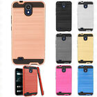 For LG X Charge Brushed Metal HYBRID Rubber Case Phone Cover +Screen Protector