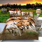 Horse HD Print Reversible Duvet Cover Pillow Case Animal Quilt Cover Bedding Set