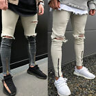 New Fashion Men Straight Slim Pants Denim Jean Pants Punk Ripped Skinny Trousers