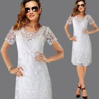 Women Embroidery Floral Lace Casual Party Slip Dress Two Piece Set Shift Dress