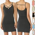 TheMogan Sleeveless Cage Spaghetti Strap Long Cami Slip Short Mini Bodycon Dress
