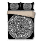Paisley Mandala White/Black Duvet Cover Pillow Case Quilt Cover Bedding Set New