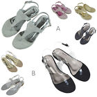 Womens Flat Holiday Toe Post Sandals Ladies Flip Flops Beach Casual T-bar Shoes