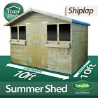 10FT X 10FT SUMMER HOUSE GARDEN WOODEN SHED WITH +1FT OVERHANG