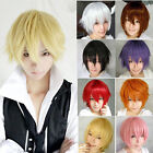 Fashion Short Hair Wig Fake Full Wigs Hairpiece Unisex Mens Cosplay 11 Colors