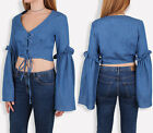 UK Womens Bell Sleeve Lace Up Eyelet Frill Crop Top Full Sleeve Blouse 6-14