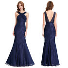 Halter V-Back Lace Embroidery Mermaid Long Evening Ball Gown Party Dresses Navy