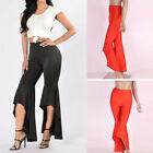 Womens Ladies Bell Wide Leg Flared Asymmetric Flare Hem Pants Leggings Trousers