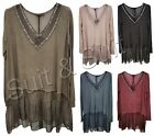 New Women Ladies Italian Lagenlook Neck Line Sequin Jersey Silk Top Size (8-20)