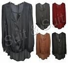 New Women Italian Lagenlook Shred Rayon Silk Pleated Layer Shirt Top One Size UK