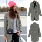 Fashion Women Winter Wool Lapel Long Coat Trench Parka Jacket Overcoat Outwear