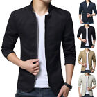Stylish Men's Jacket Slim Fit Stand Collar Cotton Coat Casual Outwear Jackets