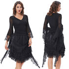 Vintage Women Gothic Poetry Long Sleeve Party Lace Blouse T-Shirts Tops Black