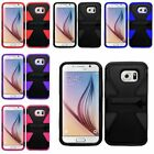 For Samsung Galaxy S6 Dynamic Slim Rugged Hybrid Dual Layer Kickstand Cover Case