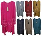 New Women Ladies Italian Lagenlook Quirky Plain Two Pocket Long Cardigan Top