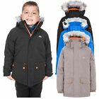 Trespass Holsey Boys Waterproof Jacket Padded Coat in Black Blue & Light Brown