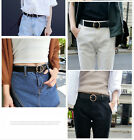 Women Round Metal Circle Pin Buckle Leather Belt Waist Waistband Casual New