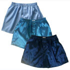 Mens Thai Silk Boxer Shorts 3 Pairs Light Blue, Turquoise, Dark Blue M L XL 2XL