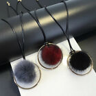 Fashion Faux Mink Fur Ball Circle Pendant Long Sweater Necklace Women Jewelry