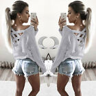 Fashion Womens Summer Long Sleeve Tops Casual Blouse Loose Cotton T Shirt Hot