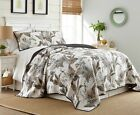 Tropical Palm Tree Foliage Vintage Washed 100%-Cotton Reversible Quilt Set image