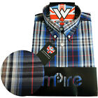 Warrior Retro Short Sleeve Button Down Shirt ELGAR Mod Skinhead Blue Red S-L