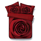 Red Rose Duvet Doona Quilt Cover Set Double Queen King Size Flower Bed Cover New
