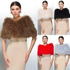Women Ostrich Real Fur Coats Jacket Winter Wedding Bridal Dress Capes Fashion