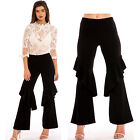 New Women's Ladies Elasticated Waist Frilled Wide Leg Trousers - UK Size 6-14