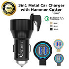 36W 4.8A Dual USB Car Charger QC2.0 Power Adapter Emergency Escape Hammer Cutter