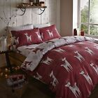 Brushed Nordic Deer 100% Cotton Red Seasonal Winter Warm Duvet Cover