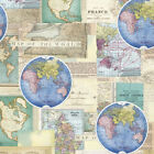 World Globe Travel Map Nautical Ocean Vintage Cartography Beige Cotton Fabric