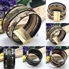 Unisex Retro Leather Bracelet Belt Wide Cuff Wristband Bangle Men Women Jewelry~