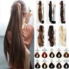 One Piece Clip On Ponytail Clip In Hair Extensions Pony Tail Straight Curly fa2