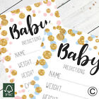 Baby Shower Prediction Game Cards Keepsakes - Boy Girl Pink Blue Gold Polka Dot