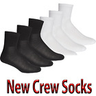 12 Pairs Or 24 Pairs 3/4 Cotton Blend Crew Sport Socks Cool Summer Black White