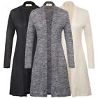 Women's Open Front Draped Knitted Fabric Long Sleeve Thin Cardigan Classic S~2XL