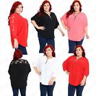 Womens Ladies 3/4 Sleeve Crepe Fabric Floral Lace V Neck Top Shirt Blouse