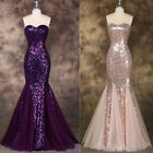 Grace Karin SPARKLY SEQUINED WEDDING LONG FORMAL GOWN MERMAID FISHTAIL DRESS US