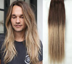 18 Inches 100% Real Human Hair Full Head Ombré Clip in Hair Extensions