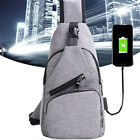 Men's Polyester Sling Bags Chest Pack Crossbody Bag with USB Charging New Good