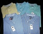 """NWT $50 Mens CHAPS Casual """"Easy Care"""" Plaid Short Sleeve Shirt: Large or XL"""