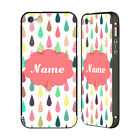 CUSTOM PERSONALISED DROPLET PATTERNS BLACK SLIDER CASE FOR APPLE iPHONE PHONES