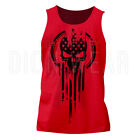 Men's Tank Top American Warrior Flag Skull Military T-shirt