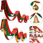 2/3/4M Christmas Bunting Waves Flags Banner Party Ceiling Decor w/ Jingle Bells