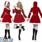 Womens Miss Santa Costume Mrs Claus Father Christmas Xmas Fancy Dress Outfit